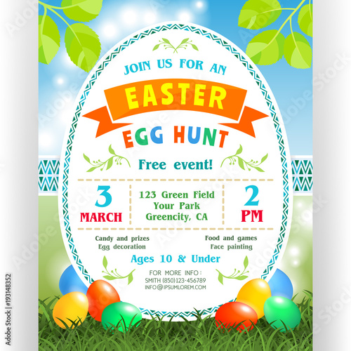 Easter egg hunt announcing poster template Canvas Print