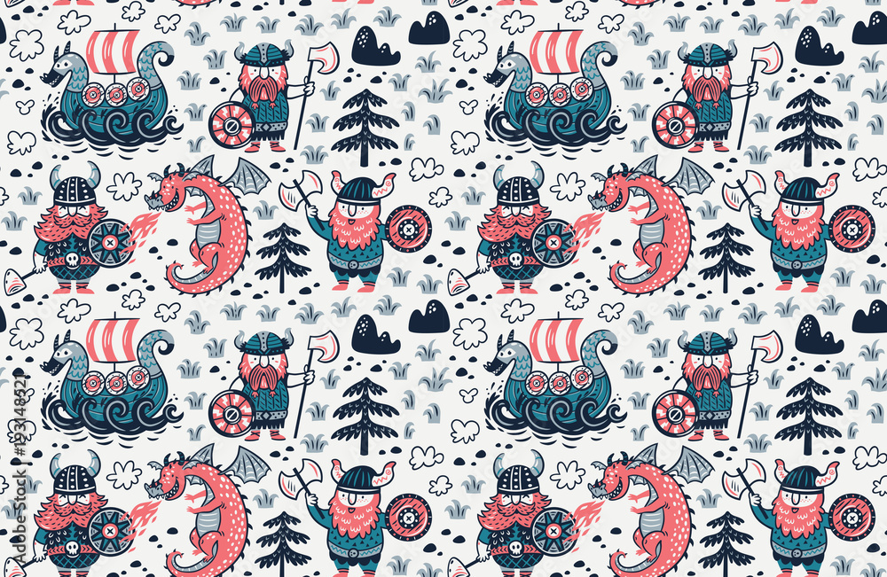 Seamless pattern with cartoon vikings characters, dragon and drakkar in comic style. Vector illustration