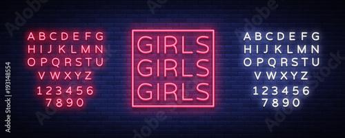 Fotografie, Obraz  Girls neon sign