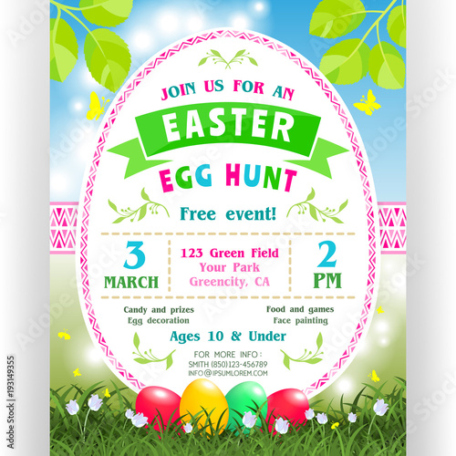 Photo Easter egg hunt announcing poster template