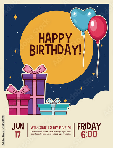 Photo  Happy birthday invitation card vector illustration graphic design