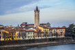 Beautiful panorama of Adige River waterfront in Verona, Italy.