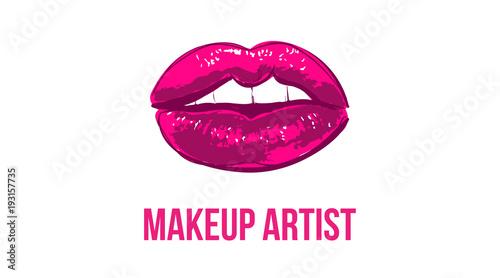 Makeup artist business card business cards template with pink open makeup artist business card business cards template with pink open lips print elegant fashion friedricerecipe Choice Image