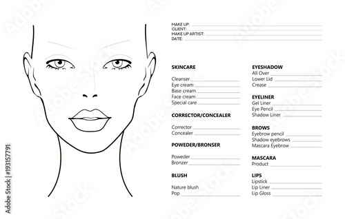 Face chart makeup artist blank template vector illustration face chart makeup artist blank template vector illustration beauty face chart beautiful maxwellsz