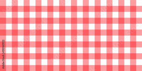 Vector Gingham Striped Checkered Blanket Tablecloth. Seamless White Red  Table Cloth Napkin Pattern Background With