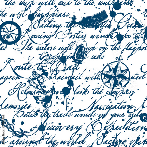 Grunge vintage ink lettering and marine elements, vector seamless pattern
