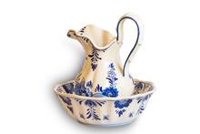 Ceramic Water Pitcher And Bowl