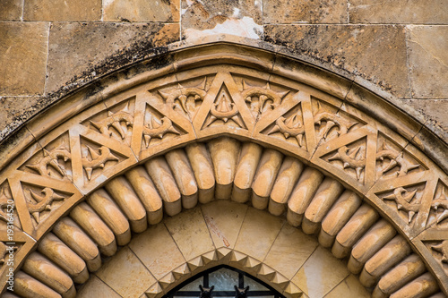 Fotografering The second station of the Via Dolorosa, detail of facade of the Church of the Fl