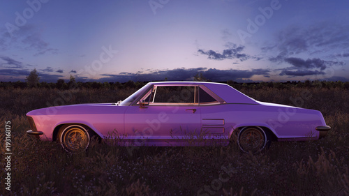 Valokuva  Pink 1970s American Classic Car in a Field at Sunset 3d Illustration