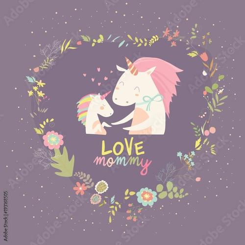 Cute Small Unicorn with Mom in wreath