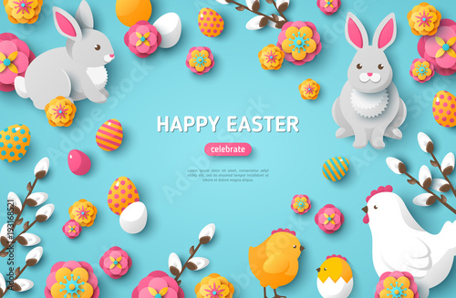 Happy Easter Blue Background Wallpaper Mural