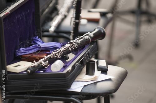 Detail of the bassoon closeup in dark colors Canvas Print