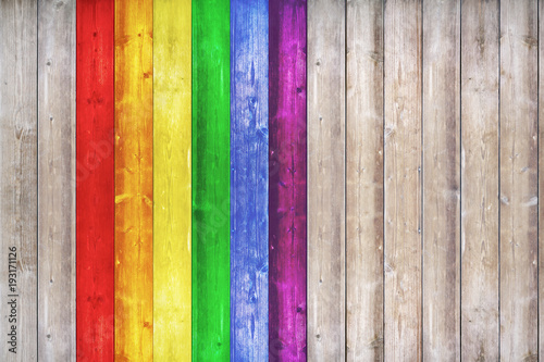 Fotografia  Wood texture background surface with LGBT natural pattern or white wood texture table top view