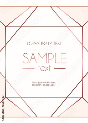 Geometric Rose Gold Design Template With Pink Background Modern