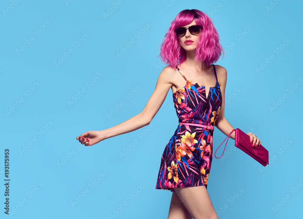 Fototapety, obrazy: Fashionable female model with Pink Hair, Trendy Sunglasses. Stylish Party Glamour Outfit. Young Beautiful European girl Posing in Studio. Gorgeous fashion woman