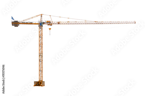 Fotografie, Obraz  real high construction crane ready to work isolated on white background