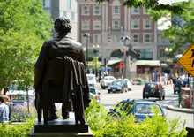 John Harvard Statue In Harvard Square, Cambridge