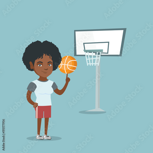 Fotografiet  Young african-american basketball player spinning a ball on finger