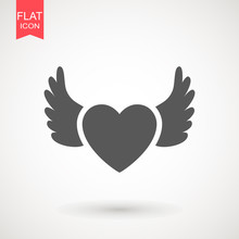Heart With Wings Icon Isolated...