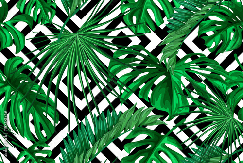 Ingelijste posters Tropische Bladeren Vector tropical leaves summer seamless pattern