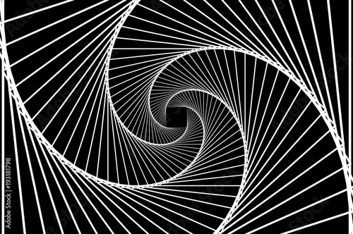 Obraz  Rotating concentric squares, Square optical illusion pattern - black and white, Geometric abstract background - fototapety do salonu