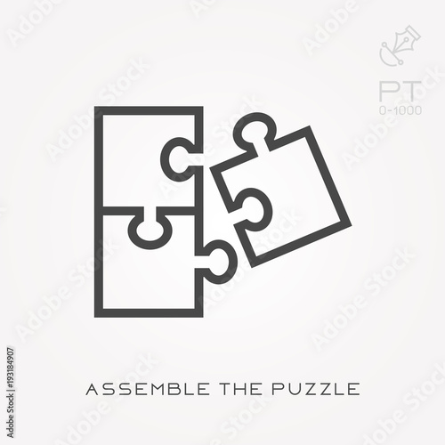 Fotografie, Tablou  Line icon assemble the puzzle
