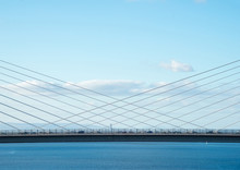 The New Queensferry Crossing Bridge, Viewed From The West Footpath Of The Old Forth Road Bridge, Showing The Cable-stayed Construction..