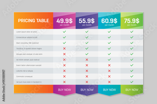 Fotografía Creative vector illustration of business plans web comparison pricing table isolated on transparent background