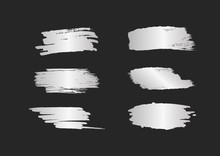 Set Of Silver Smears. Silvery Brush Strokes With Shine Isolated On Black Background. Grunge, Sketch, Graffiti.