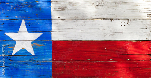 Poster Texas Texas flag painted on rustic weathered wooden boards