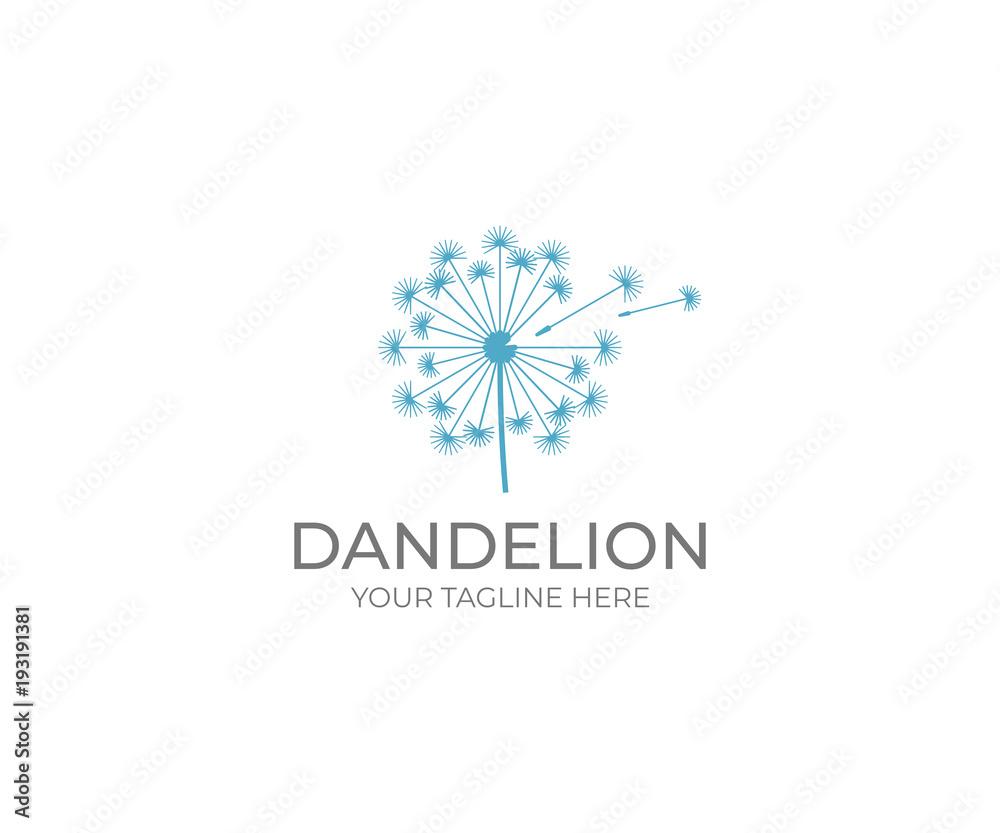 Fototapety, obrazy: Dandelion logo template. Taraxacum flower vector design. Blowball illustration
