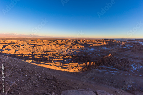 Fotobehang Aubergine Atacama Desert, Chile - Landscape of the Andes at sunset in the Atacama Desert, Chile