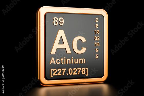 Photo Actinium Ac chemical element. 3D rendering