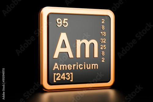 Americium Am chemical element. 3D rendering Wallpaper Mural