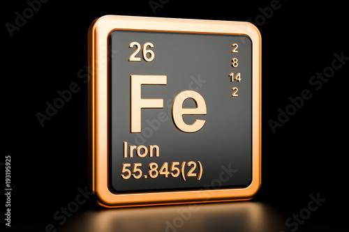 Fotografía Ferrum iron Fe chemical element. 3D rendering