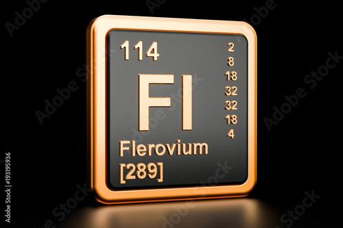 Poster  Flerovium Fl chemical element. 3D rendering