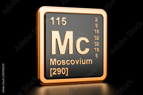Poster  Moscovium Mc chemical element. 3D rendering