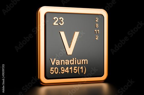 Fotomural Vanadium V chemical element. 3D rendering