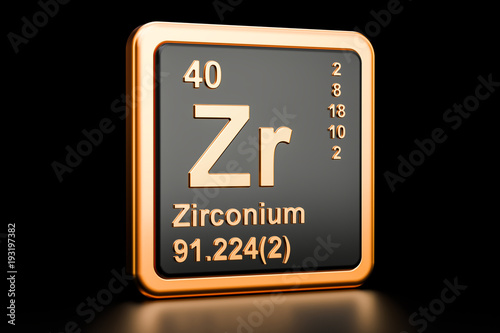 Fotografia, Obraz Zirconium Zr chemical element. 3D rendering