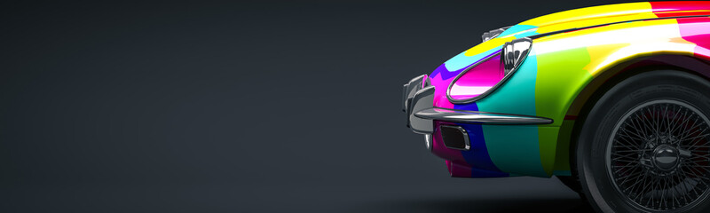 Multicolored car 3d illustr...