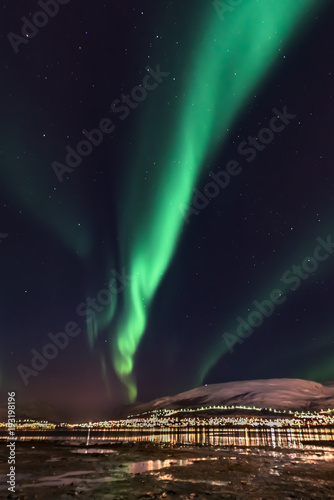 Aurora Borealis (northern lights) in North Norway - Tromso City Poster