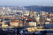 View on the winter Prague City with its Towers, Czech Republic