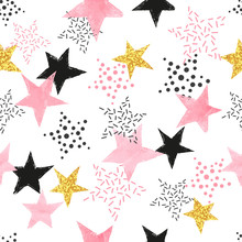 Seamless Stars Pattern. Vector Background With Watercolor Pink And Glittering Golden Stars.