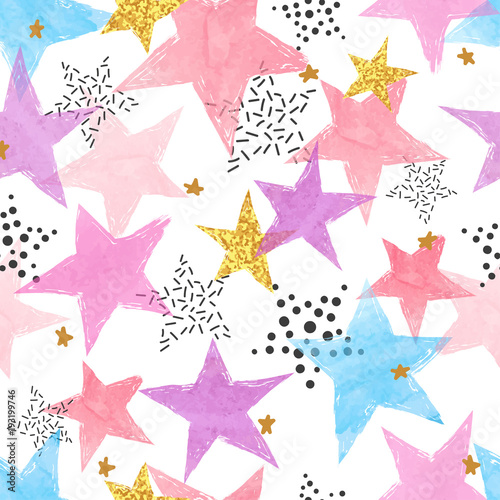 Cotton fabric Abstract celebration background with watercolor stars. Colorful vector seamless pattern.