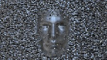 Face Made Of Shiny Metal Cubes...