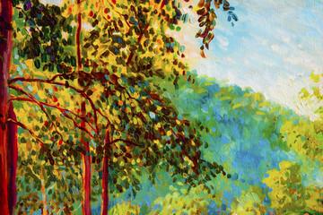 Fototapeta Jesień Oil painting landscape on canvas - colorful autumn trees.