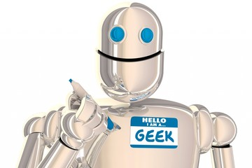 Obraz na płótnie Canvas Geek Robot Nerd Scientist Inventor Smart Name Tag 3d Illustration