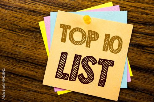 Conceptual hand writing text caption inspiration showing Top 10 Ten List Canvas Print
