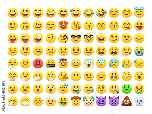 Photo Funny cartoon yellow emoji and emotions icon collection