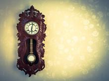 Ornate Wood Wallclock On Wall ...
